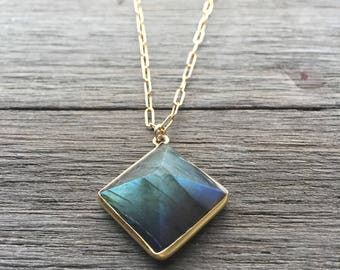 Labradorite Pyramid Necklace // 14K Gold Fill Chain