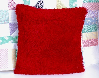 Fluffy Funky Red Pillow, Decorative, Super Soft Red Fuzzy Pillow