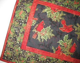 Christmas Table Runner, Cardinals, Holly, birds, quilted, fabric from Robert Kaufman