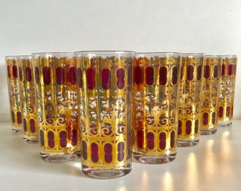 Mid Century Barware - Set of 8 Culver High Ball Tumblers Glasses - Cranberry Scroll Pattern - Hollywood Regency - Red and 22 k Gold