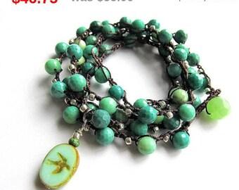 "Holiday Sale! Semi precious boho wrap bracelet / necklace, beaded, crochet bracelet, ""aqua sky"", gift for her, crochet jewelry, fall fash..."