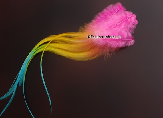 Rainbow Rooster Feather Extensions for Little Girls Hair Accessories Hair Feathers Pink Orange Yellow Lime Blue Gay Pride QTY8 8-12inch