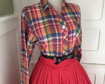 Vintage Western Style Cotton Rainbow Plaid 1960s Button Down Blouse