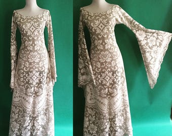 Vintage 1960s 1970s Runway Sheer Cut Out TWO TONE Beige & White Cotton Crochet Lace Hippie Wedding Long Maxi Dress