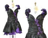 80s Prom Dress Size Large XL Purple and Black Sequins// Vintage 80s Pageant DressAlyce Designs// Vintage 80s Metallic Prom Dress Plus Size