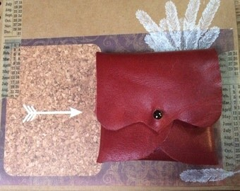 Leather Earphone or Earbud Pouch or Just a Cute Pouch. Deep Red. Gunmetal Coloured Rivet Closure. Eco Friendly.