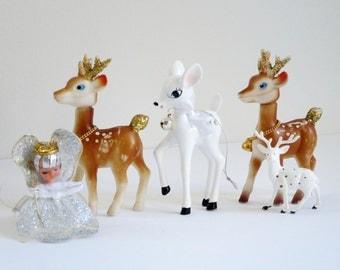 Christmas Reindeer Deer Figurines, Vintage Deer Reindeer Ornament w Angels, Kitsch Christmas Holiday Decor, Christmas Angels and Deer