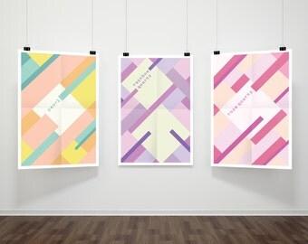 Pearl and Rose Quartz Make Rainbow Quartz // Crystal Gem Modern Art 3-Print Set // Minimalist Portrait Steven Universe