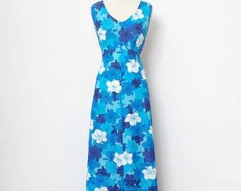 Vintage 70s hawaiian maxi dress / tiki party dress / hawaiian dress / Blue dress / tiki luau dress / floral dress / Blue dress / party dress