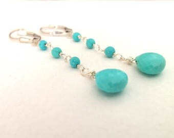 Sleeping Beauty Turquoise Handmade Dangle Earrings Wire Wrapped with Sterling Silver