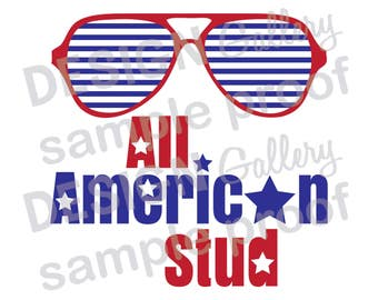 All American Stud - Instant Download - jpg, png image & SVG, DXF cut files - Printable Digital Iron On