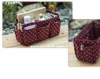 Purse ORGANIZER insert, Perfect organizer for finding items quickly, Extra Sturdy, Burgundy Polka Dots / Large 25x10cm