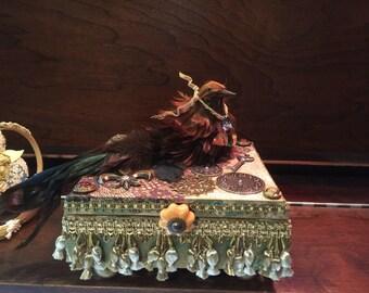 Jewelry Keepsake Box Golden Embellish Plumed Bird Vintage Knob