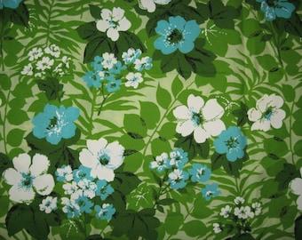 Retro floral print patio upholstery tablecloth fabric aqua green blue mid century mod  flower ferns
