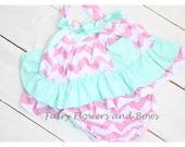 CLEARANCE ....Swing Top, Bloomers ...3mo, 6mo  Hot pink with White Polka Dots, Summer outfit, Ruffle Bloomers
