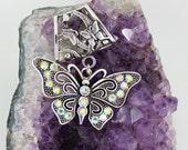 Crystal Butterfly Pendant Scarf Slide ~ Scarf Accessory ~ Rhinestone Jewelry