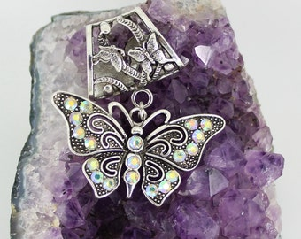 Butterfly Scarf Slide with Crystal Rhinestones ~ Scarf Jewelry