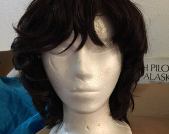 Human hair wig vintage dark short wavy