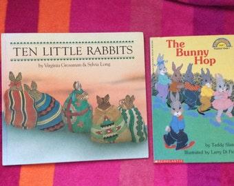 "Lot of 2 bunny/kids books ""10 Little rabbits"" & ""the Bunny hop"" vguc"