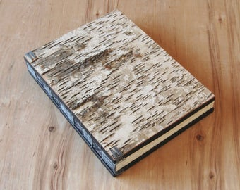 white birch bark wood wedding guest book cabin vacation home - unique journal wedding anniversary gift memorial spring wedding ready to ship