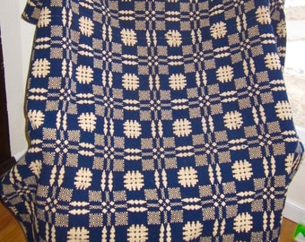 Antique Coverlet 1800s Hand Made Shotover Reversible Indigo Blue Creamy Yellow Wool 2 Panel Mid 1800s 98 x 76