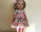14.5 Inch Doll Clothes Reserved Listng for Sandra Dress, Leggings and Hairbow