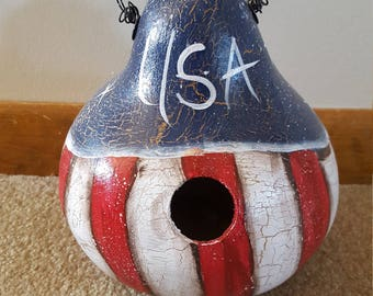 Americana Gourd Birdhouse/mother's day/patriotic/father's day/spring/garden