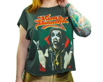 Vintage King Diamond shirt 1980s Heavy Metal Soft Paper Thin Slayer Metallica Concert shirt Band tee 80s tee 80s shirt Black shirt Half Tee