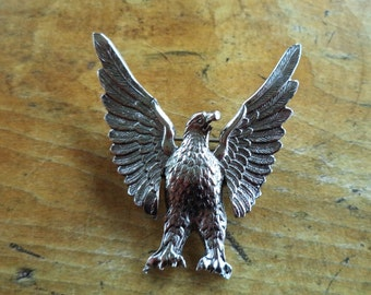 Signed Accessocraft Silver Eagle Brooch Wing Tips Wings Up WWII Home Front Sweetheart Pin