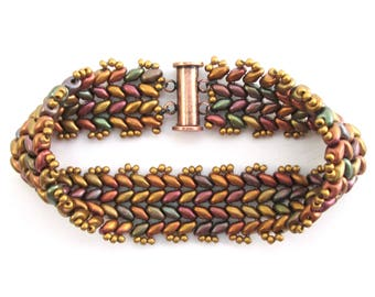 Autumn rainbow chevron beadwork bracelet, Czech glass woven beaded bracelet in fall colors with copper magnetic clasp