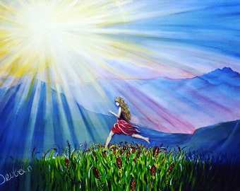 Freedom. Original Nature Themed Fine Art Painting. Woman. Mountain View.