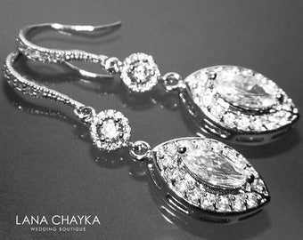 Cubic Zirconia Marquise Bridal Earrings Chandelier Crystal Wedding Earrings Long Dangle Wedding Earrings Sparkly Bridal Jewelry Prom Earring
