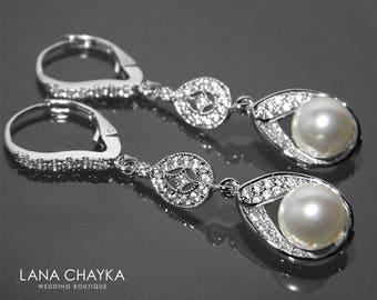 Bridal Pearl CZ Chandelier Earrings Swarovski White Pearl Wedding Earrings Bridal Pearl Leverback Wedding Earrings Dangle Earrings