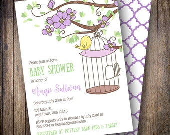 Floral Birdcage Baby Shower Invitation, Floral Baby Shower Invite, Printable, Birdcage Baby Shower Invitation in Purple, Green, Yellow