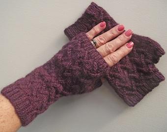 Burgundy Fingerless Gloves, Maroon Handspun Artisan Wristwarmers,  Grape Merino Mitts, Purple Texting Gloves, Damson Handspun Knitted Gloves