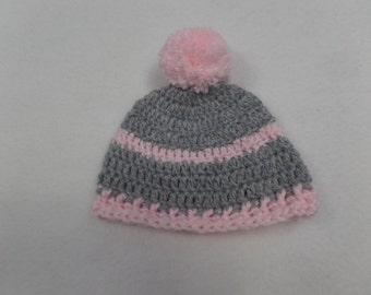Pink & Grey Winter Baby Girl Beanie with Pom Pom Newborn