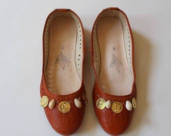 Leather flats, womens leather flats,tan leather flats