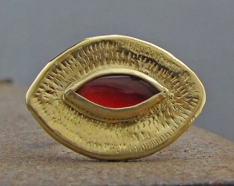 Carnelian Ring - 22k Solid Gold Ring - Statement Carnelian Ring