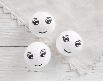 Spun Heads with Faces, 40mm - Vintage-Style Spun Cotton Craft Heads, 3 Pcs.