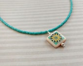 Turquoise Catalina Tile Necklace on Sterling Silver, Spanish, Mexican, Catalina Island Tile, Inspired, Shell Necklace