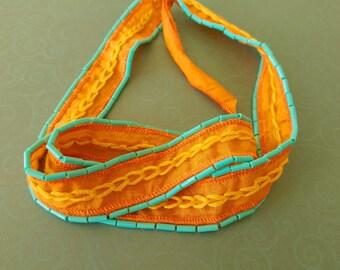 Orange Silk and Turquoise Beaded, Hand Embroidered Wrist Wrap Boho Bracelet