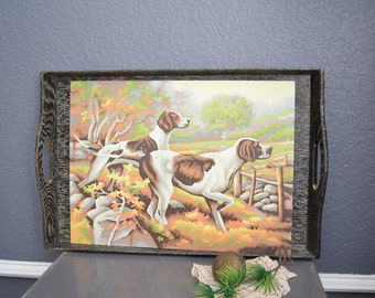 Vintage Paint By Number Painting Pointer Dogs Hunting Picture Trees Art Frameless Wall Hanging Red Orange Yellow Wildlife English Puppy