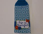crochet towel, kitchen towel, hanging towel, doublesided towel, mothers day, towel topper