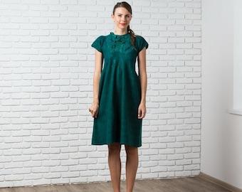 Boho Wedding Dress, Felted Dress, Maternity Dress, Emerald Green Dress, Bridesmaid Dress, Midi Dress, Open Back Dress, Nuno Felt Clothing