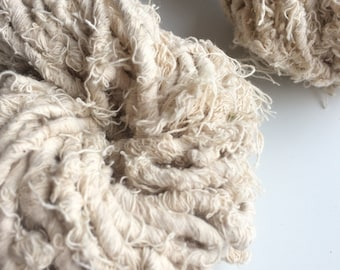 Super chunky fluffy off white cotton yarn, 50g, eco yarn, ethical cotton. Chunky art yarn. Jewellery making, clothing, knit.
