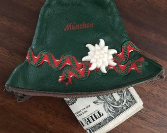 Vintage Soft Leather Zipper Coin Purse Wallet Hat Shape with Edelweiss Flower