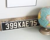 Vintage European Black and White License Plate