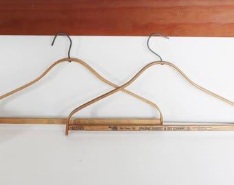 Vintage Wood Hangers - Vintage Advertising - Set of 2 Antique Wooden Dry Cleaning Hangers