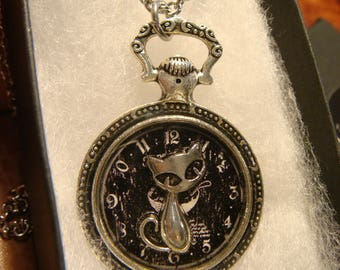 Cat over Clock Image- Pocket Watch Style Pendant Necklace (2386)