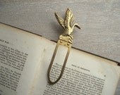 Vintage Brass Duck or Goose Bookmark or Bookclip , Home Office Desk Accessory , Booklover's  Gift